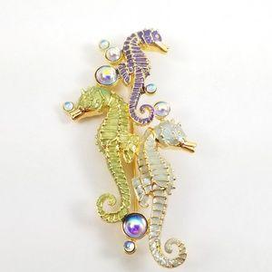 Bob Mackie Enamel Swimming Seahorses Pin